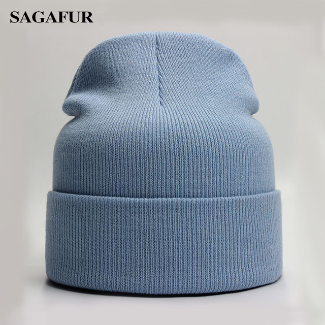 Solid Beanie Wool Blends Soft Warm Knitted Cap 2