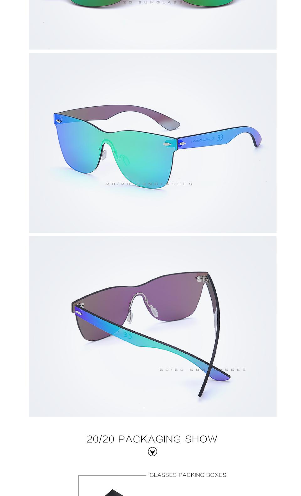 20/20 Marka Vintage Style Bez Oprawek Okularów Przeciwsłonecznych Mężczyzna Soczewka Płaska PC1601 Kwadratowych Rama Kobiety Okulary Óculos Gafas 5