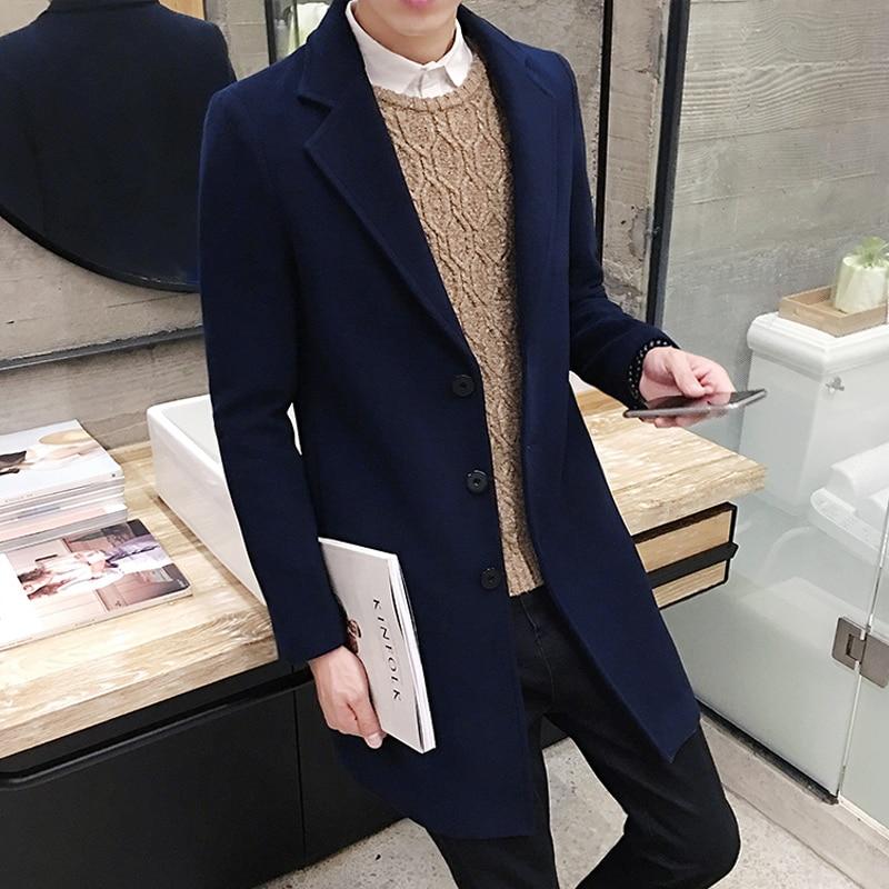 High Quality Men's Long Solid Color Windbreaker, Autumn And Winter Fashion Slim Warm Jacket, Large Size 5XL Men's Woolen Coat