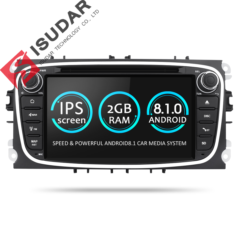Isudar Car Multimedia Player Android 8.1 GPS 2 Din car dvd player for FORD/Focus/S-MAX/Mondeo/C-MAX/Galaxy wifi car radio DSP android 8 4 32gb car gps navigation dvd player radio isp screen for ford focus 2004 2011 ford mondeo focus s max kuga galax mk3