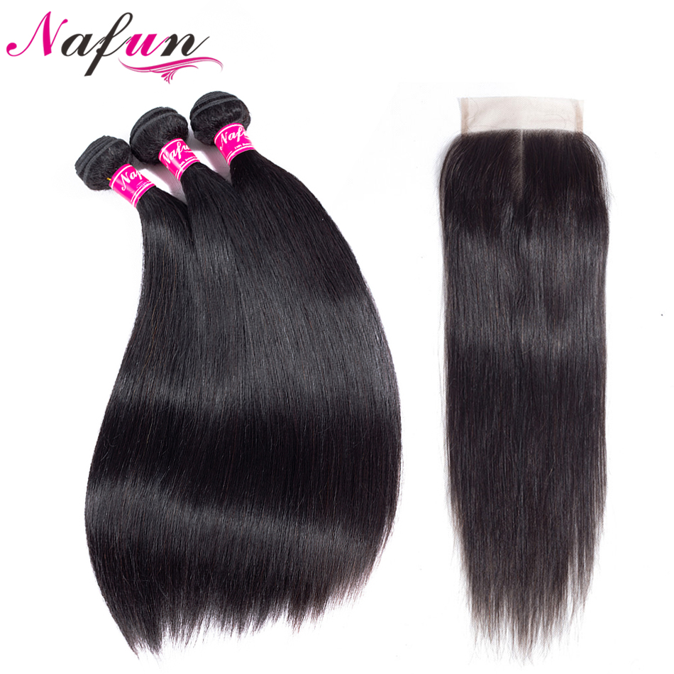 NAFUN Hair Peruvian Hair Weave 3 Bundles Natural Color Straight Human Hair 3 Bundles With 4*4 Lace Closure Non Remy 8 30 Inch-in 3/4 Bundles with Closure from Hair Extensions & Wigs    1