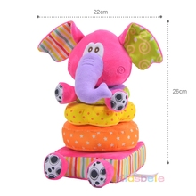 Children's Educational Toy Soft Plush Mobile Rattles Toy Elephant Stacking Toy