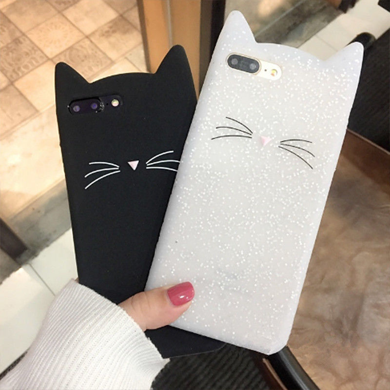3D cute cartoon Black White beard cat Ears soft silicone back case cover skin For iphone 8 7 plus 5S se 6 6s plus