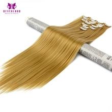 """Neverland 7 шт./компл. 16 клипы 24 """"Длинные прямые волокна синтетических шиньоны 27/613 # Природный женщины клип в полной головки волос"""