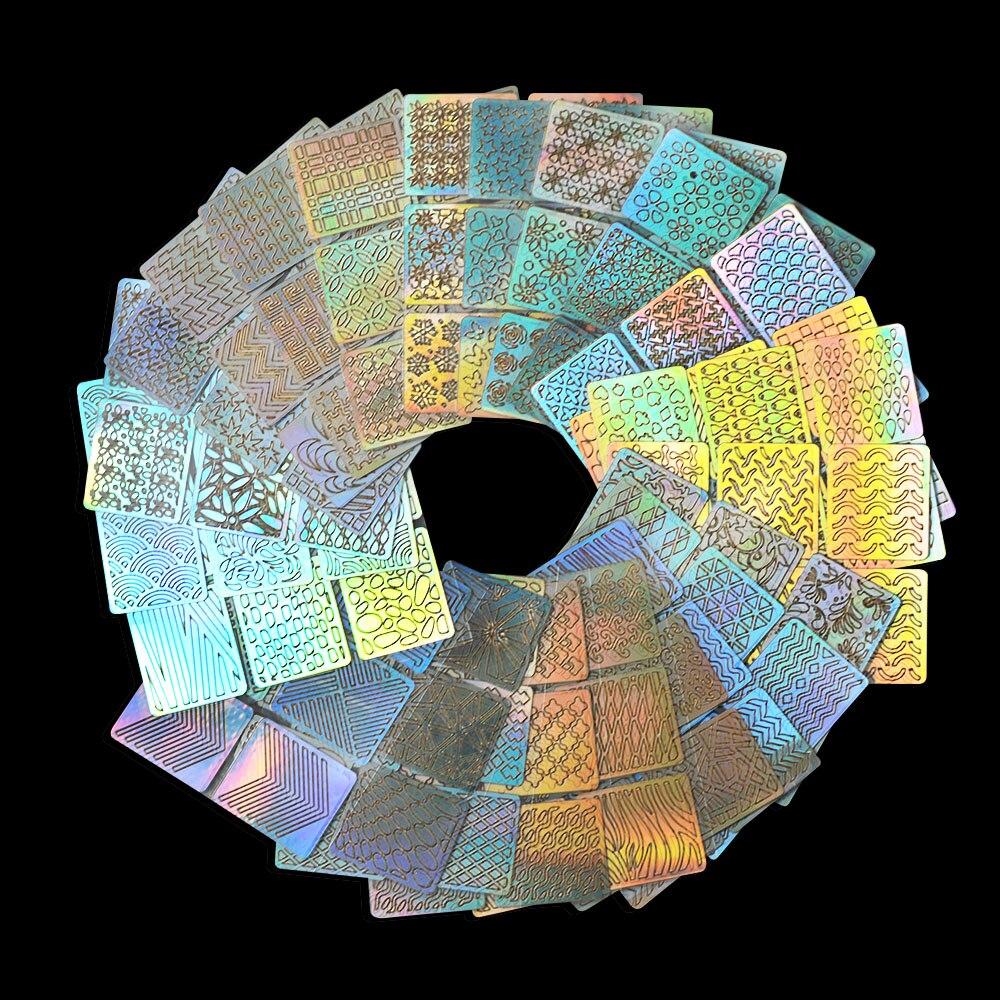 24 Sheets Nail Vinyls Onregelmatige Driehoek Rasterpatroon Laser ...