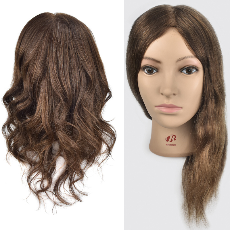 Hot Selling Female 16 Hairdresser Training Head With 100% Real Human Hair Mannequin Head For Hairstyles Practice Wig Doll Heads graceful short side bang fluffy natural wavy capless human hair wig for women