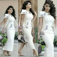 Myriam Fares Celebrity Dresses Embroidery Tassels Decorated With Slit Evening Gowns With Detachable Shoulder Cape 2015