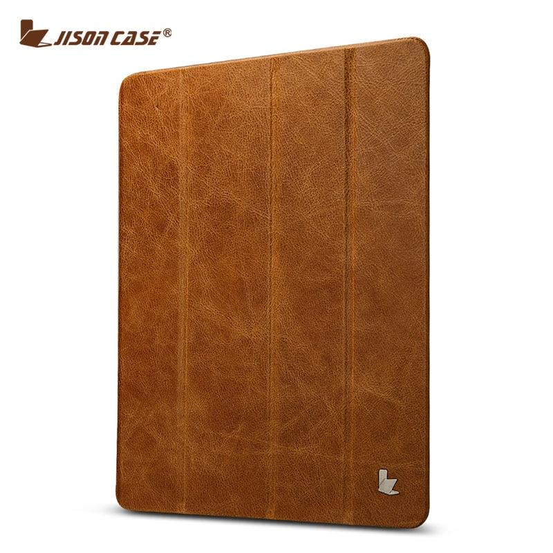 все цены на Jisoncase Genuine Leather Stand Case For iPad 2 3 4 Case Luxury Slim Folding Folio Smart Cover Wake Up Sleep for iPad 4 3 2 онлайн