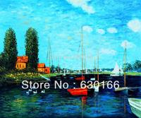Canvas Wall Picture Oil Paintings for Living Room Bathroom Decor Argenteuil by Claude Monet Painting Horizontal Hand Painted