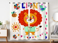 Blackout Curtains 2 Panels Grommet for Bedroom Cute Cartoon Lion Bunting Bee Bird Animal