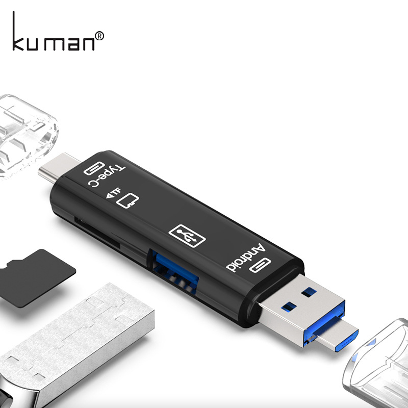 Kuman 2.0 OTG Card Reader USB MicroUSB TypeC Interface with Micro SD USB TF Card Slot Flash Memory Card Reader for Mobile Phone1 ifound 8800mah dual usb mobile power source w sd card reader led flashlight golden