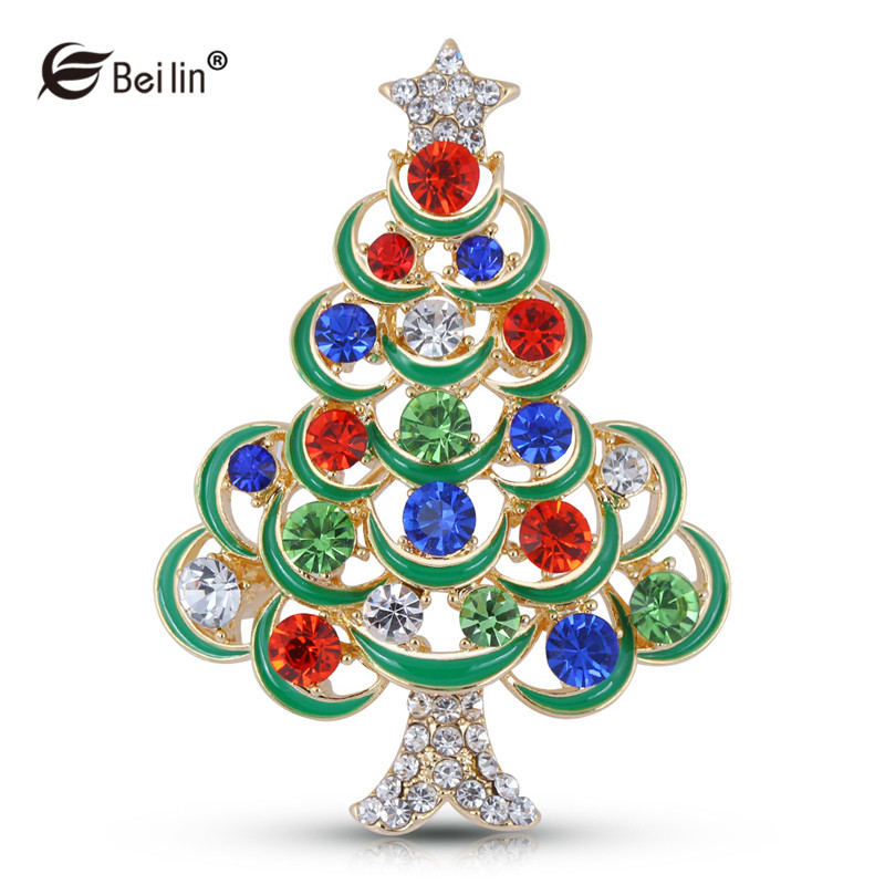 BEILIN Multicolor Crystal Rhinestone Brooches Christmas Gifts Tree ...