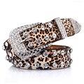 Padrão Cinto De Leopardo das Mulheres Por Atacado de varejo, Cinta Rebite Cinto de Couro Cravejado de Strass Rabo de Cintos Para As Mulheres 3.3 cm de Largura