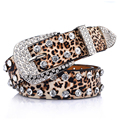 Retail Wholesale Women's Belt Of Leopard Pattern,Leather Rhinestone Studded Belt Rivet Strap Tail Belts For Women 3.3cm Width