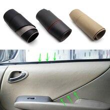 Para honda fit/jazz 2004 2005 2006 2007 maçaneta da porta do carro braço painel capa de couro microfibra