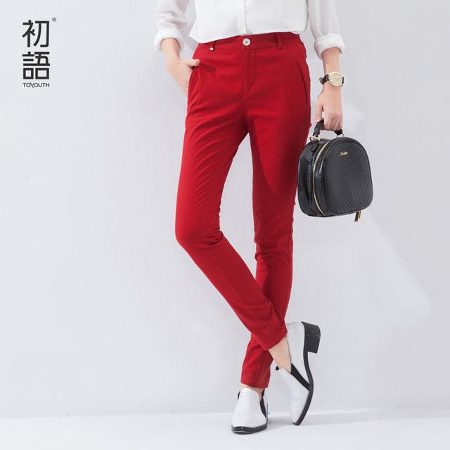 Toyouth 2017 Sólido Elástico de La Cintura Lápiz de Los Pantalones Mujeres Pantalones Lápiz Estiramiento Delgado Pantalones de Invierno Largo Rojo