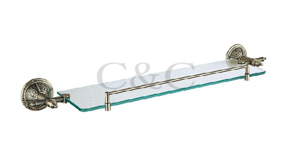 Towel Racks Noble And Elegant Solid Brass And Glass Antique Plating Bathroom Towel Shelf Holder 1104