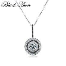 [BLACK AWN] подлинное женское ожерелье из серебра 925 пробы, хорошее ювелирное изделие, круглые подвески из черной шпинели P074