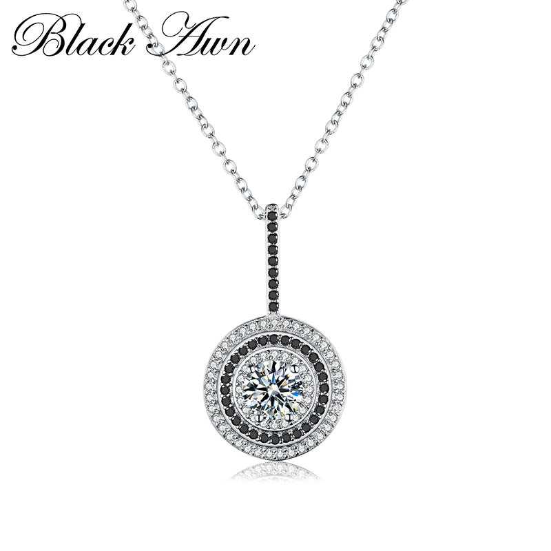 [BLACK AWN] Genuine 100% 925 Sterling Silver Women's Necklace Fine Jewelry Round Bijoux Black Spinel Pendants Necklace P074