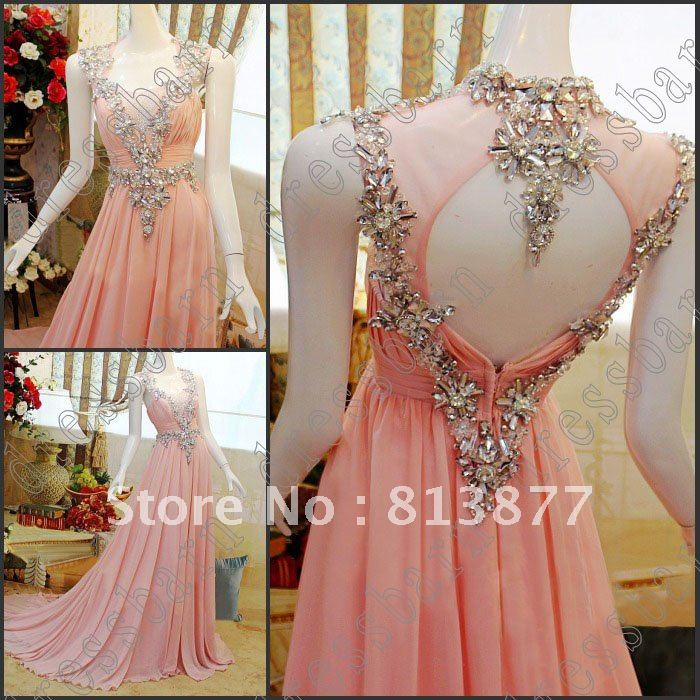 Free Shipping Sexy Cap Sleeves Evening Dress Crystals Pink Evening