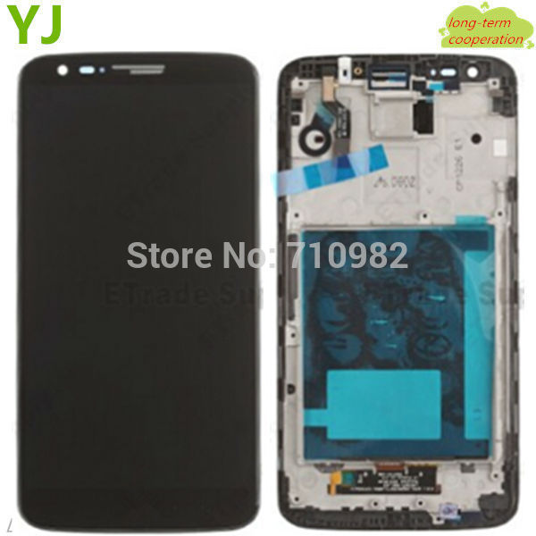 HK free 100% Tested OEM lcd screen and Digitizer Assembly for LG G2 D802 touch screen with front frame black