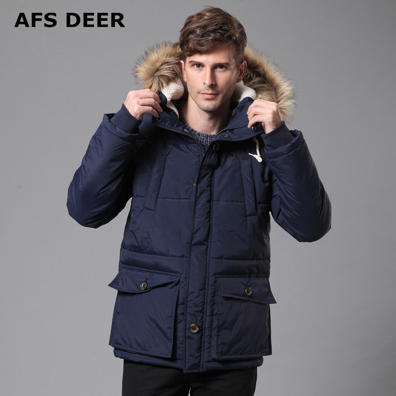 2017 New Men's Quilted Parka Puffer Jacket Hooded Faux Fur Lined ... : quilted parkas - Adamdwight.com