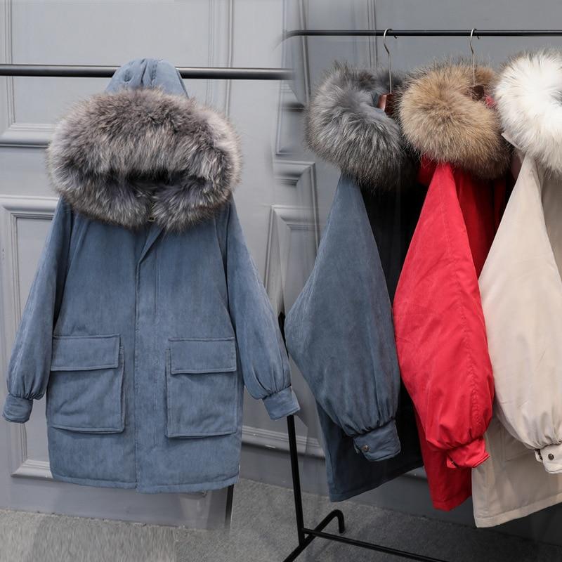2018 nouvelle corée Super fourrure de raton laveur col vers le bas vestes femmes Long épaississement peau de pêche velours hiver vêtements manteaux