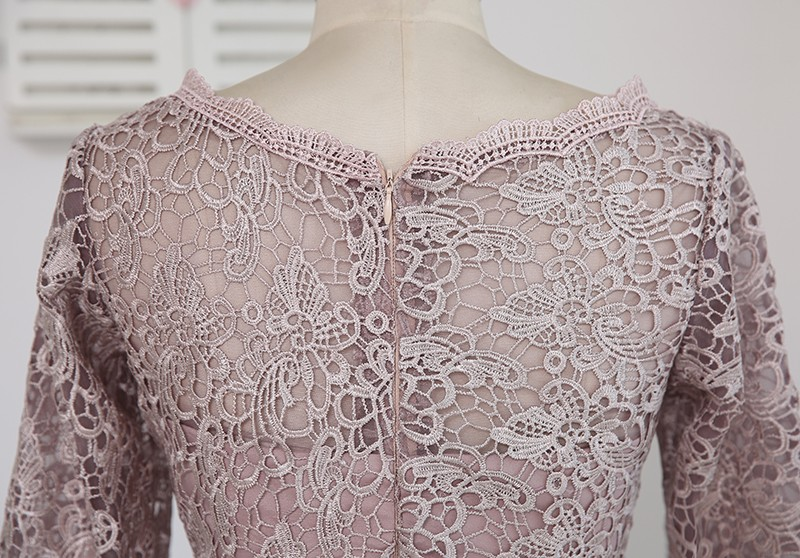 A-line 3/4 Sleeves Chiffon Lace Mother Of The Bride Dress