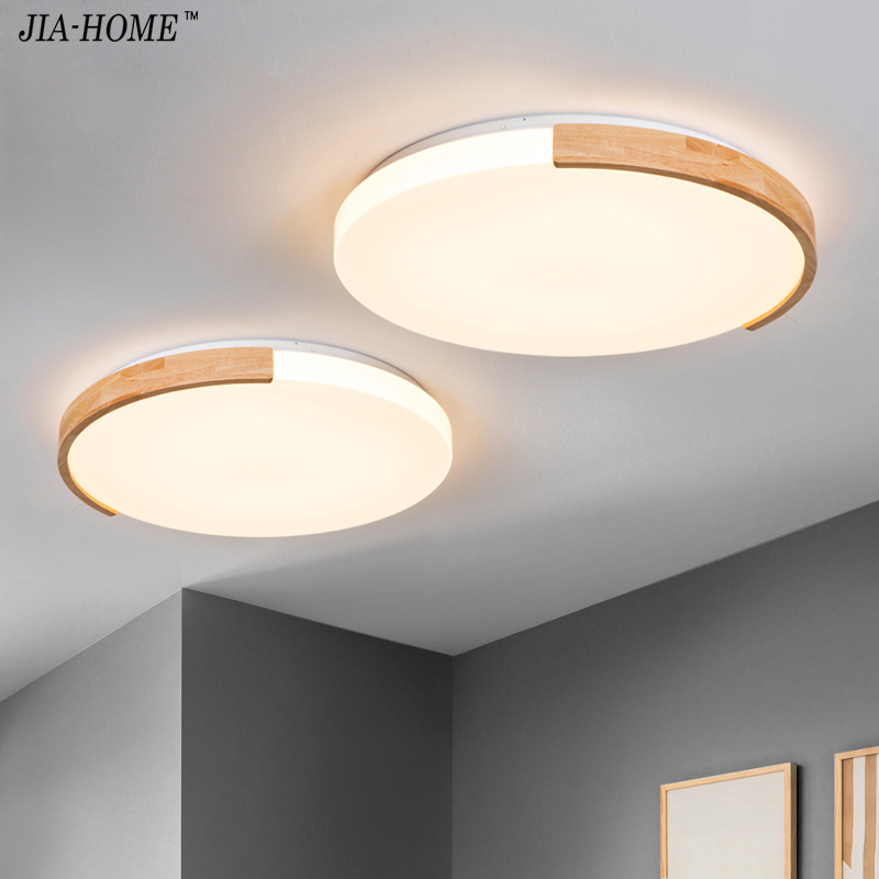 the best attitude 9687b 965c6 Nordic Ceiling Lights Round Ceiling Mounted Wood Lamps For Bedroom living  room Kitchen Luminaire dome lights Lamp remote control
