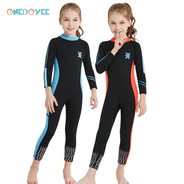 4d1e19de4c Onedoyee Thermal 2.5mm Neoprene Wetsuits Kids Swimwear Girls Diving Suit  Long Sleeve Surfing Snorkeling One Piece Rash Guards