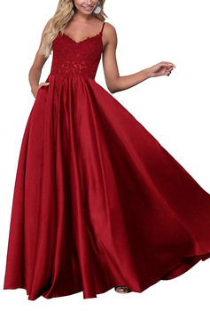 2019 fashionable elegant sexy ball gown sweet heart satin fine shoulder strap lace sewn sequins formal evening dress custom