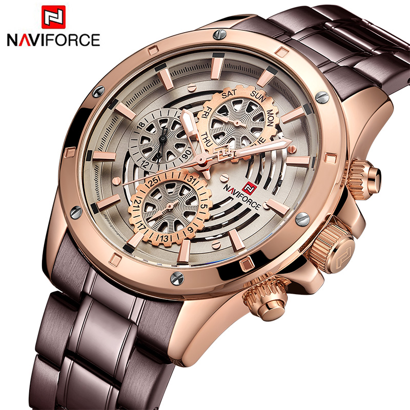 New Men s Watches NAVIFORCE Fashion Casual Sport Wrist Watch Men Full Steel Waterproof Quartz Clock