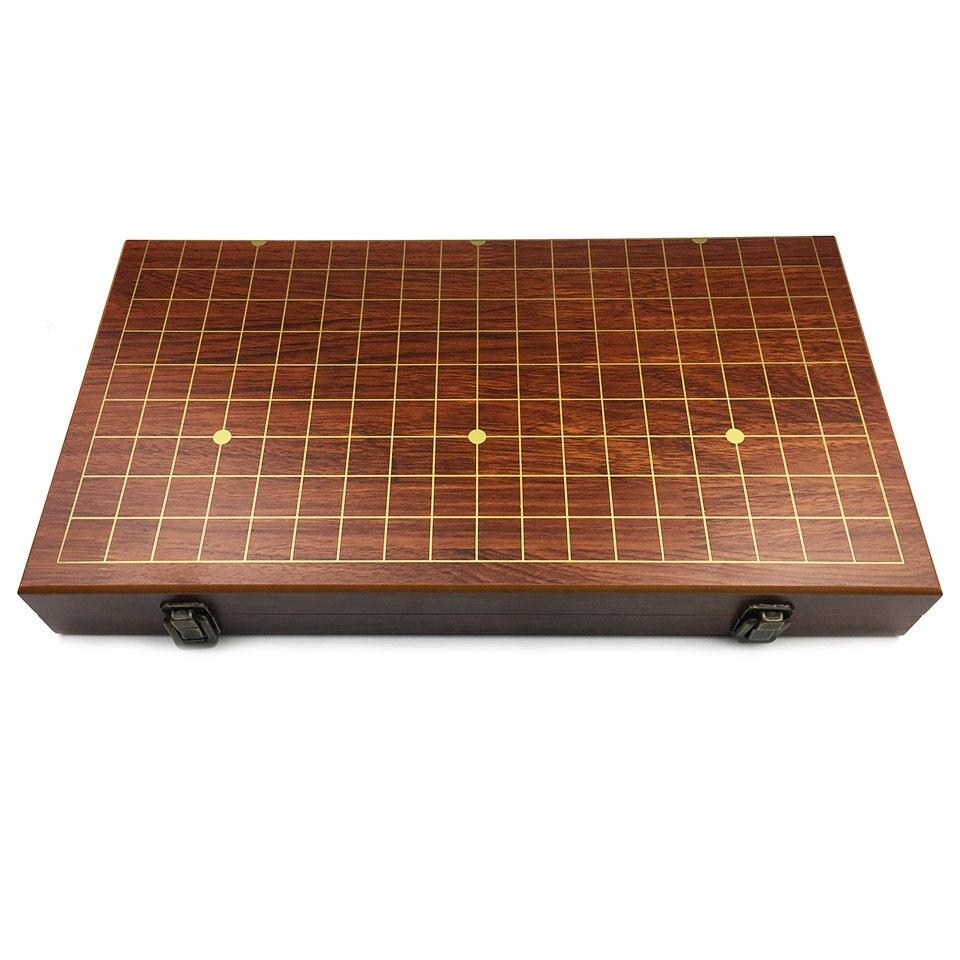 BSTFAMLY Go échecs 19 échiquier de route 50cm * 46cm * 3cm repliable en bois damier vieux jeu de Go Weiqi planche pour 2.2cm pièces LB44