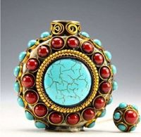 Vintage Handmade Tibetan Turquoise Coral Beads Snuff Bottle