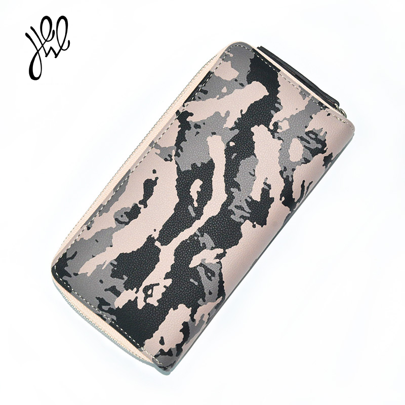 New Women Wallets 2018 PU Leather Wallet Brand Designer Luxury Ladies Wallet Long Camouflage Striped Army Purse For Cards 500829