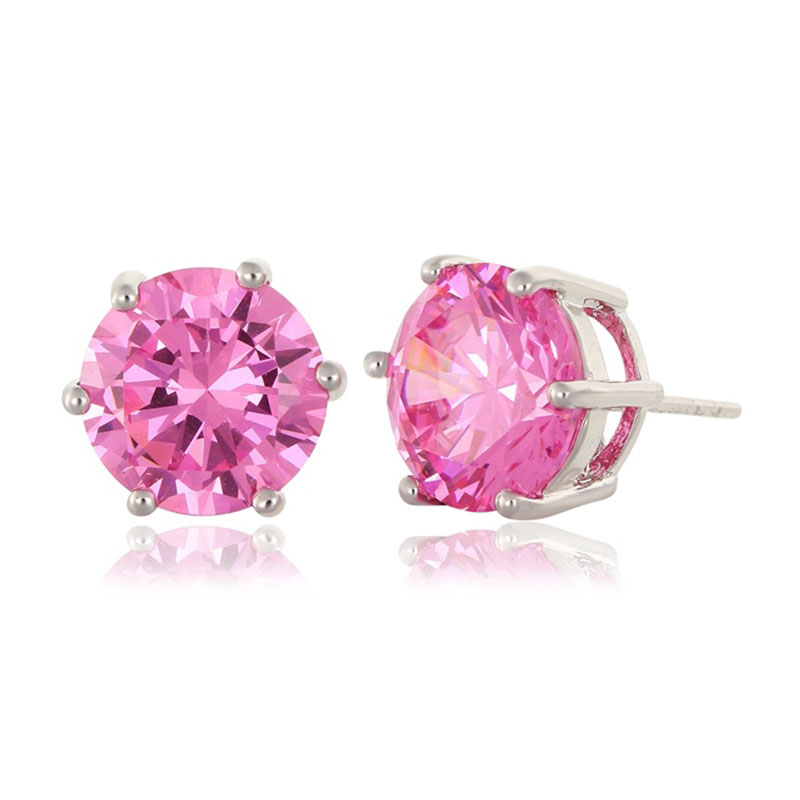 1ct White Gold Color Six Claw Round Cupid Cut Pink Cz Stud
