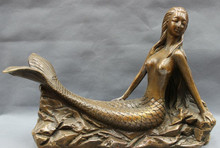 "USPS naar USA S1209 14 ""Chinese Bronze Folk Mythe Mermaid Zee-meid Zee-maiden Vis Standbeeld Art Rack(China)"