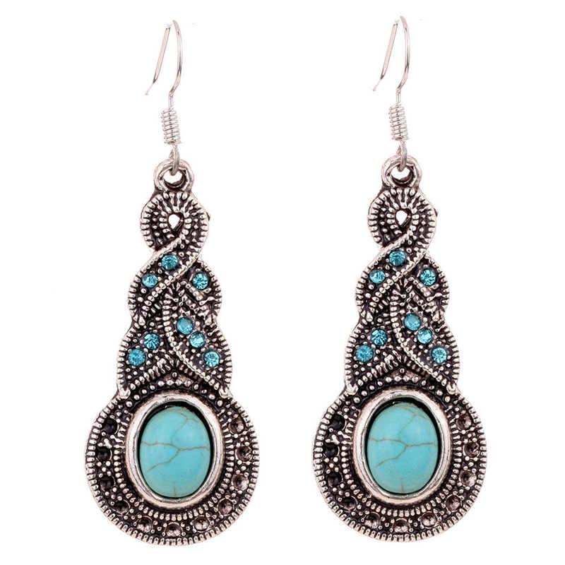Sainio Retro Boho Jewelry Set Vintage Ethnic Blue Stone Necklace Earrings Sets antique Silver Tibetan Jewelry Sets For Women