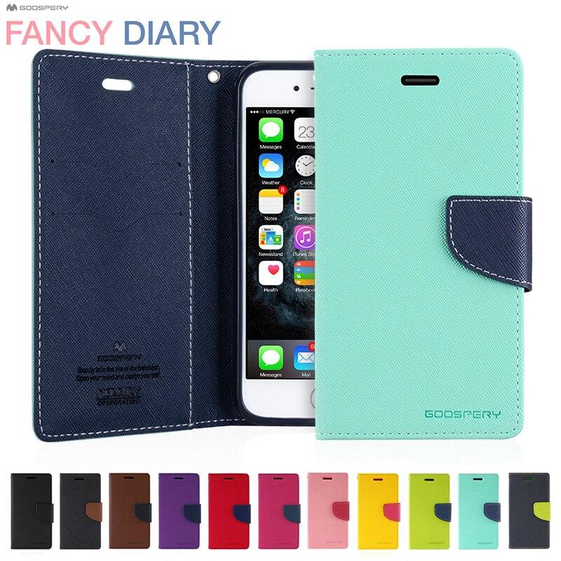 Original MERCURY GOOSPERY Fancy Diary Colorful PU Leather Folio Wallet Flip Case for iPhone 5s SE 6 6s 7 8 Plus Xs 11 Pro Max