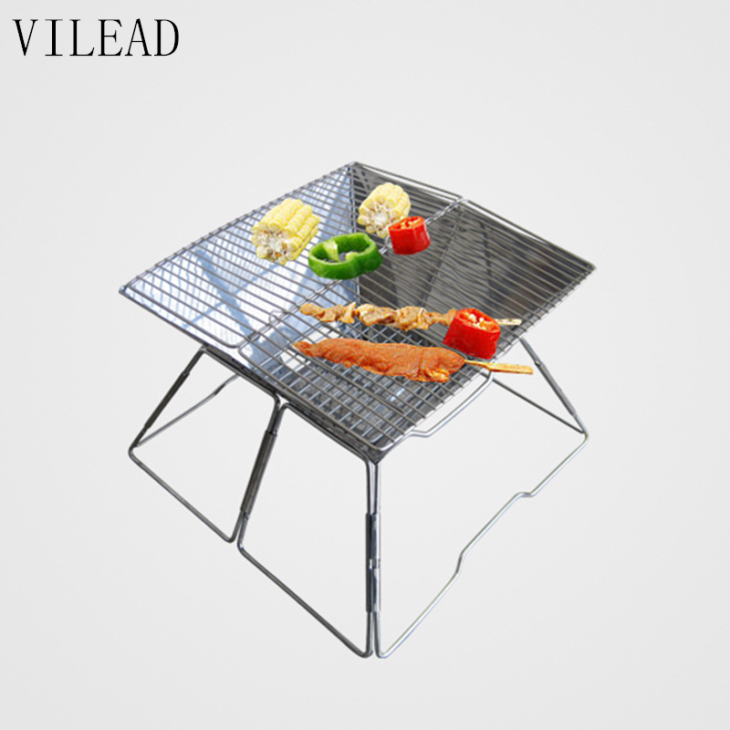Portable Large outdoor BBQ Grill Stove Stainless Steel Folding Charcoal Grill Barbecue Carbon Oven Grill for 6-8 Person 3 5 people outdoor picnic thick stainless steel barbecue grill portable folding grill barbecue tools