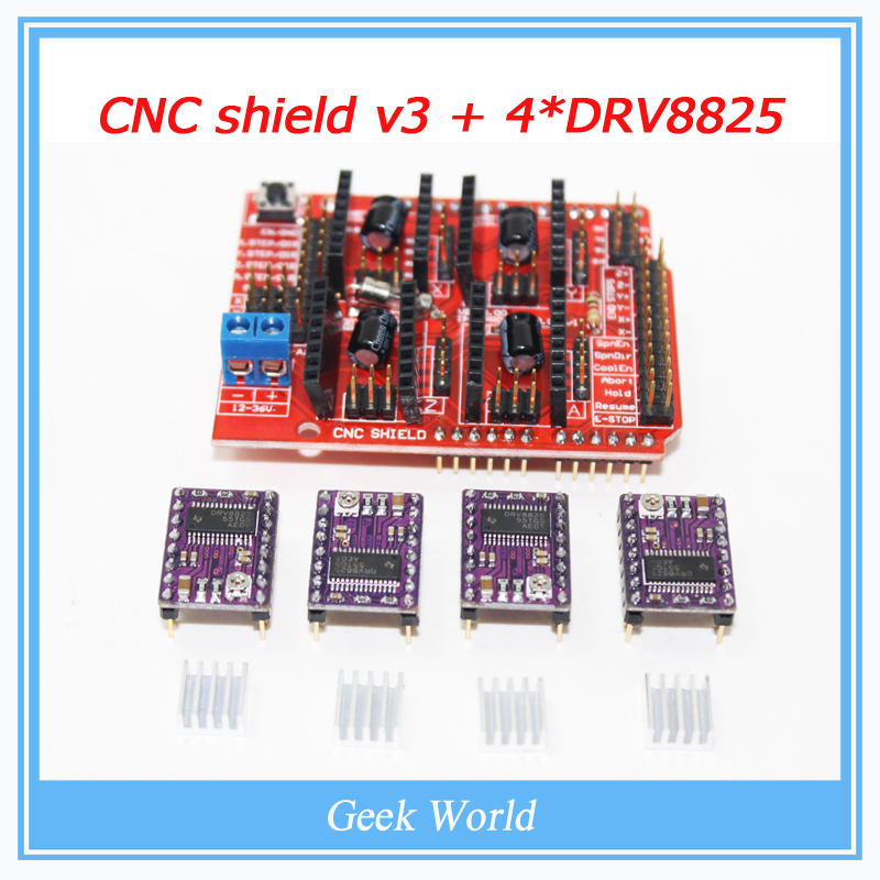 Placa de expansi/ón del escudo del CNC V3.0 CNC Shield V3 Expansion Board 4pcs DRV8825 Stepper Motor Driver for 3D Printer DRV8825 Motor del motor de pasos con disipador de calor para Arduino