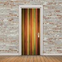 3D Door Sticker Retro Old Wooden Door Hall Subway Stairs Color Bricks Pulling Door Home Decor Paste