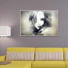 black and white Painting in water colours Figure Abstract Home decor Frameless Spray Oil Canvas drawing