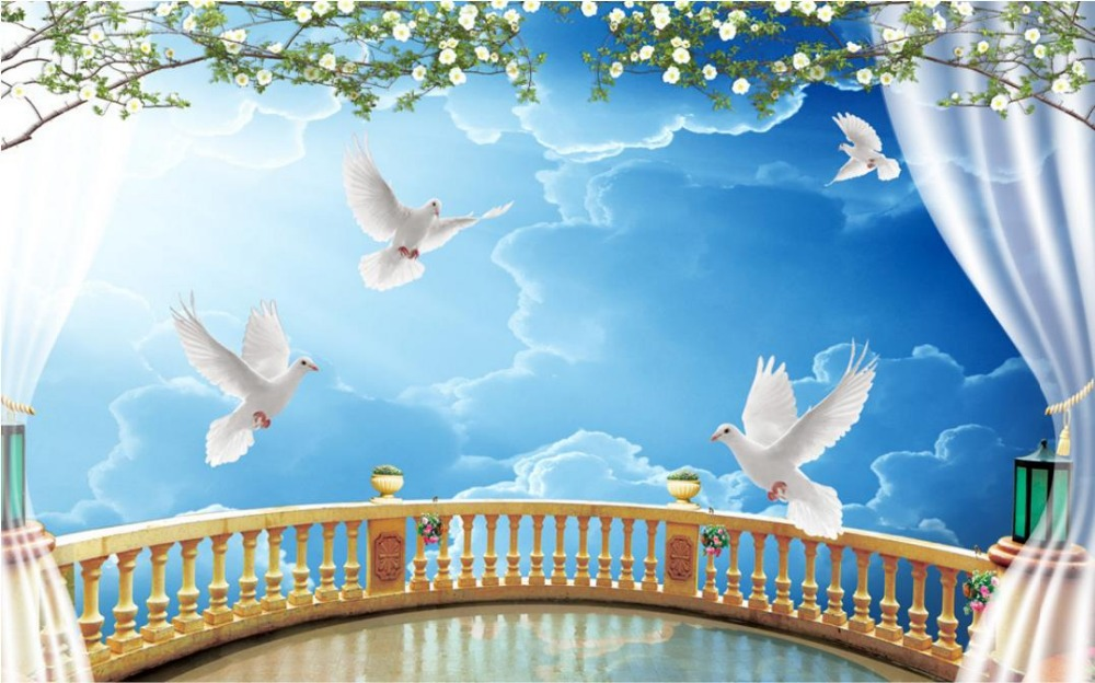 Europe Blue Sky Balcony Wallpaper Cutsom For Walls 3 D Living Room Wall Murals