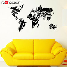 World Map Vinyl Wall Decal Sights Country Travels Stickers Nautical Decoration For Sofa Background 3147