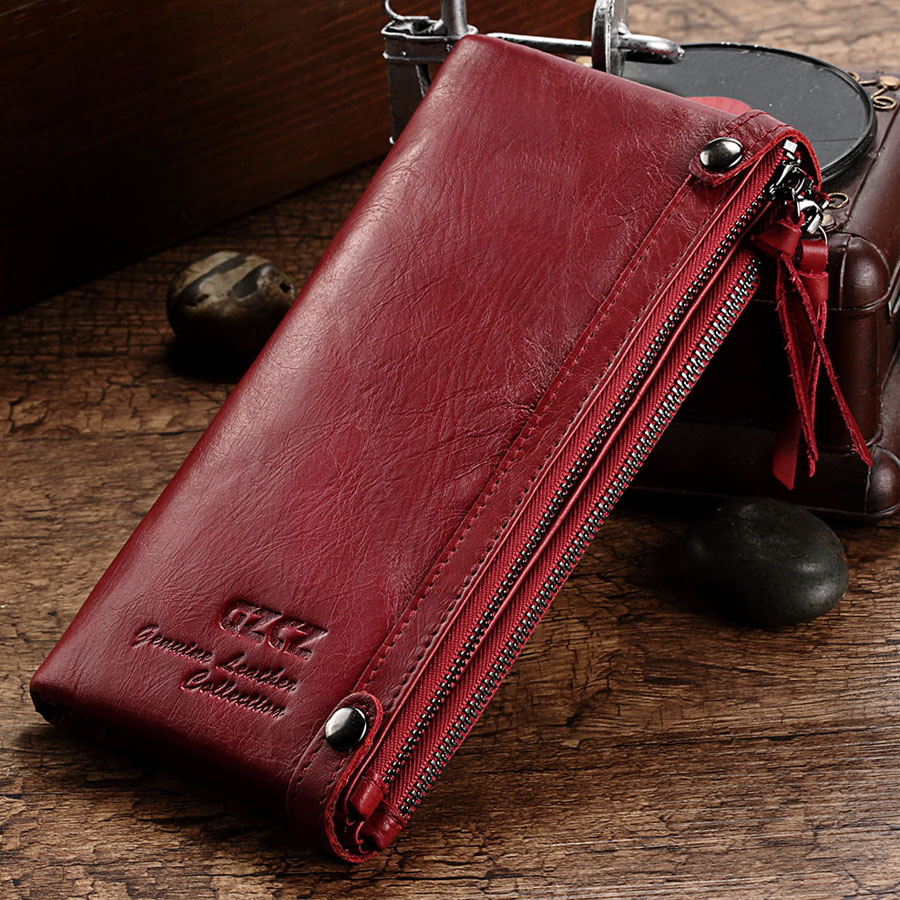 Véritable cuir femmes Long portefeuille coques de téléphone 5.5 pouces pour iPhone femelle fermeture éclair pince pour argent pochette porte-monnaie porte-carte - 3
