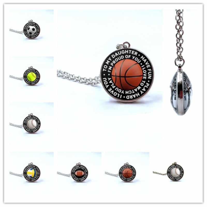 2019 nueva moda fútbol baloncesto voleibol fútbol Fútbol Tenis foto cristal doble cara collar de cristal joyería