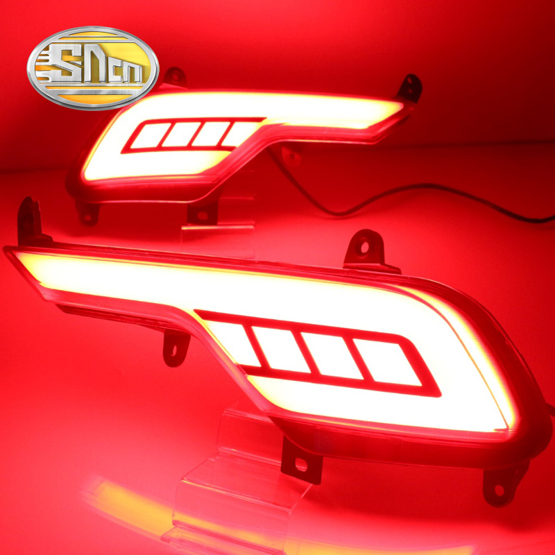 SNCN Multi-function LED Reflector Rear Fog Lamp Bumper Light Brake Light Turn Signal Light For Hyundai Santa Fe IX45 2016 2017 for hyundai new santa fe ix45 led tail lamp wh