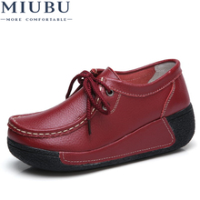 MIUBU Spring/Autumn Women Genuine Leather Flats platform Shoes Casual Lace up Flats Women's Shoes with Fur creepers Moccasins недорого