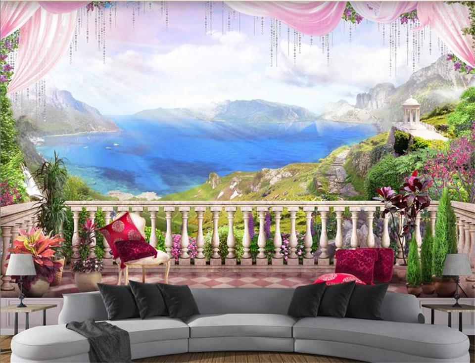 3d custom photo mural 3d wallpaper balcony alpine sea view for Custom photo mural